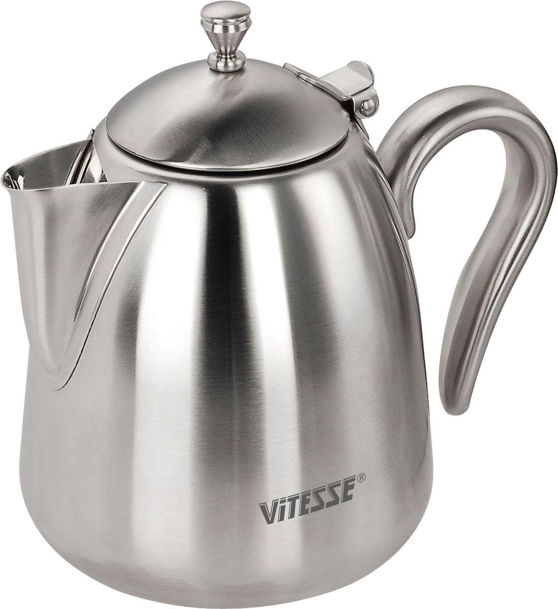 Чайник заварочный Vitesse Bryttany, с ситечком, 1 лVS-1896Заварочный чайник Vitesse Bryttany, выполненный из высококачественной нержавеющей стали 18/10 с зеркальной полировкой, предоставит вам все необходимые возможности для успешного заваривания чая. Чай в таком чайнике дольше остается горячим, а полезные и ароматические вещества полностью сохраняются в напитке. Чайник имеет вынимающийся фильтр-ситечко, что делает его чрезвычайно удобным в использовании. Эстетичный и функциональный, с эксклюзивным дизайном, чайник будет оригинально смотреться в любом интерьере.Чайник пригоден для мытья в посудомоечной машине. Характеристики:Материал:нержавеющая сталь. Объем чайника:1,0 л. Высота чайника (без учета крышки):13,5 см. Диаметр основания чайника:11 см. Размер упаковки:17,5 см х 15,5 см х 13,5 см.Артикул:VS-1896. Кухонная посуда марки Vitesseиз нержавеющей стали 18/10 предоставит Вам все необходимое для получения удовольствия от приготовления пищи и принесет радость от его результатов. Посуда Vitesse обладает выдающимися функциональными свойствами. Легкие в уходе кастрюли и сковородки имеют плотно закрывающиеся крышки, которые дают возможность готовить с малым количеством воды и экономией энергии, и идеально подходят для всех видов плит: газовых, электрических, стеклокерамических и индукционных. Конструкция дна посуды гарантирует быстрое поглощение тепла, его равномерное распределение и сохранение.Великолепно отполированная поверхность, а также многочисленные конструктивные новшества, заложенные во все изделия Vitesse, позволит Вам открыть новые горизонты приготовления уже знакомых блюд.Для производства посуды Vitesseиспользуются только высококачественные материалы, которые соответствуют международным стандартам.