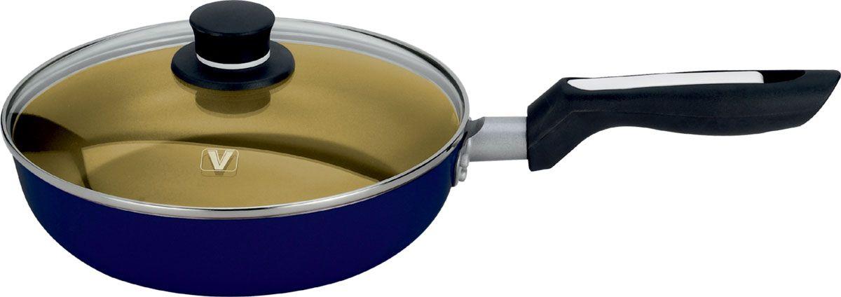 """Сковорода """"Vitesse"""" изготовлена из высококачественного алюминия и обеспечивает равномерный  нагрев. Внутренние стенки имеют антипригарное покрытие. С внешней стороны поверхность  сковороды отделана силиконовым покрытием. Стеклянная крышка позволяет следить за  процессом приготовления. Крышка имеет отверстие для выхода пара. Сковорода оснащена  удобной съемной ручкой и бакелитовой, высокопрочной, огнестойкой не нагревающейся ручкой  удобной формы на заклепках.  В комплект входит кулинарная ломатка.   Сковорода подходит для использования на всех типах плит, кроме индукционной. Также изделие  можно мыть в посудомоечной машине.    Диаметр по верхнему краю: 24 см.  Высота стенки: 5 см.    Толщина стенок: 2,5 мм.    Длина ручки: 18,5 см. Длина лопатки: 25,5 см."""