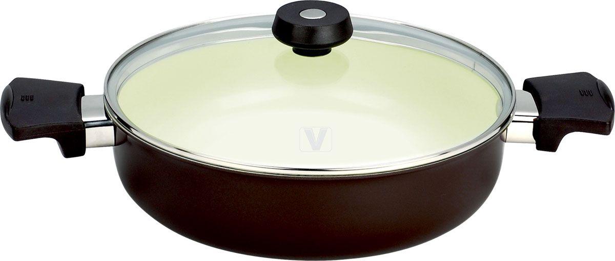 Кастрюля Vitesse, 3,4 лVS-2212Кастрюля Vitesse изготовлена из высококачественного алюминия. Она имеет внешнее элегантное цветное покрытие, подвергшееся высокотемпературной обработке. Внутренняя поверхность кастрюли имеет стойкое керамическое покрытие, позволяющее готовить при температуре 450°С. Покрытие обеспечивает быстрый нагрев и равномерное распределение тепла по всей поверхности. Кастрюля оснащена двумя удобными короткими ручками из бакелита, которые имеют удобную форму, отличаются прочностью, огнестойкостью и не нагреваются. Стеклянная крышка позволяет следить за процессом приготовления. Кастрюля подходит для использования на всех типах плит, кроме индукционных. Изделие можно мыть в посудомоечной машине. Характеристики: Материал:алюминий, бакелит. Объем:3,4 л. Диаметр:24 см. Глубина:7 см. Длина ручки:6,5 см. Размер упаковки:33 см х 33 см х 10 смАртикул:VS-2212.