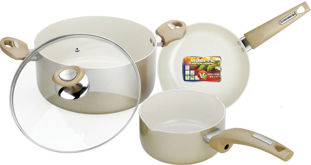 Набор посуды Vitesse, цвет: кремовый, 4 предметаVS-2218Набор посуды Vitesse прекрасно подойдет для вашей кухни. Он состоит из кастрюли с крышкой ковша и сковороды. Предметы набора изготовлены из высококачественного алюминия. Они имеют внешнее элегантное цветное покрытие, подвергшееся высокотемпературной обработке. Стойкое внутреннее антипригарное керамическое покрытие позволяет готовить при температуре 450°С. Оно обеспечивает быстрый нагрев и равномерное распределение тепла по поверхности емкости. Ручки выполнены из бакелита и имеют удобную форму. Они высокопрочные, огнестойкие и не нагреваются. Крышка, выполненная из стекла, позволит следить за процессом приготовления пищи без потери тепла. Она оснащена отверстием для выхода пара и металлическим ободом по краю. Посуду можно использовать на любых типах кухонных плит, кроме индукционной. Характеристики: Материал: алюминий, бакелит, стекло. Объем кастрюли:5 л. Диаметр кастрюли:24 см. Высота стенки кастрюли:11 см. Объем ковша:1,1 л. Диаметр ковша:14 см. Высота стенки ковша:6 см. Длина ручки ковша:18 см. Диаметр сковороды:20 см. Глубина сковороды: 3 см. Длина ручки большой сковороды:18 см. Размер упаковки:33 см х 28 см х 14 см.Изготовитель:Китай. Артикул:VS-2218.