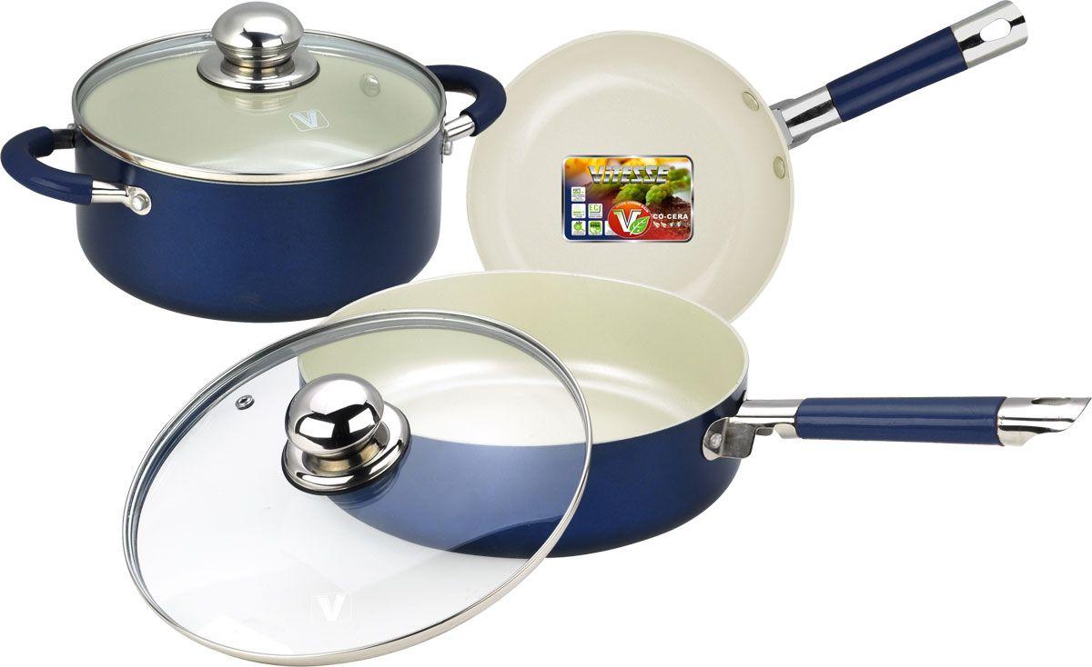 """Набор посуды """"Vitesse"""" состоит из кастрюли с крышкой, сковороды и второй сковороды с крышкой. Изделия выполнены из высококачественного алюминия. Внешнее термостойкое покрытие синего цвета, подвергшееся высокотемпературной обработке, обеспечивает легкую чистку. Внутреннее керамическое покрытие Eco-Cera белого цвета абсолютно безопасно для здоровья человека и окружающей среды, так как не содержит вредной примеси PFOA и имеет низкое содержание CO в выбросах при производстве. Керамическое покрытие обладает устойчивостью к царапинам и механическим повреждениям. Прочность покрытия позволяет готовить при температуре до 450°С и использовать металлические лопатки. Кроме того, с таким покрытием пища не пригорает и не прилипает к стенкам. Готовить можно с минимальным количеством подсолнечного масла. Посуда быстро разогревается, распределяя тепло по всей поверхности, что позволяет готовить в энергосберегающем режиме, значительно сокращая время, проведенное у плиты.  Посуда оснащена удобными ненагревающимися ручками из нержавеющей стали с силиконовым покрытием.Крышки из термостойкого стекла позволят следить за процессом приготовления пищи без потери тепла. Они плотно прилегает к краям посуды, сохраняя аромат блюд. Можно использовать на газовых, электрических, стеклокерамических, галогенных плитах. Можно мыть в посудомоечной машине.    Характеристики:Материал: алюминий, силикон, нержавеющая сталь 18/10, стекло.   Цвет: синий, белый.   Внутренний диаметр сковородок: 20 см, 24 см.   Высота стенок сковородок: 4,5 см, 7 см.   Длина ручек сковородок: 17 см, 19 см.   Объем кастрюли: 2,8 л.   Диаметр кастрюли: 20 см.   Высота стенки кастрюли: 9 см.   Толщина стенки: 2,5 мм.   Толщина дна: 4 мм."""