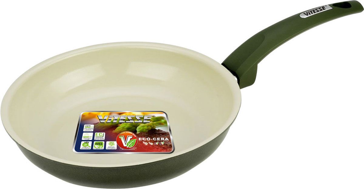 Сковорода Vitesse Le Grande, с керамическим покрытием, цвет: хаки. Диаметр 20 см. VS-2243VS-2243-greenСковорода Vitesse Le Grande изготовлена из высококачественного алюминия с внутренним керамическим покрытием премиум-класса Eco-Cera. Благодаря керамическому покрытию пища не пригорает и не прилипает к поверхности сковороды, что позволяет готовить с минимальным количеством масла. Кроме того, такое покрытие абсолютно безопасно для здоровья человека, так как не содержит вредной примеси PFOA. Покрытие стойко к высоким температурам (до 450°С), устойчиво к царапинам.Внешнее цветное силиконизированное покрытие обеспечивает легкую чистку. Дно сковороды снабжено антидеформационным индукционным диском. Сковорода быстро разогревается, распределяя тепло по всей поверхности, что позволяет готовить в энергосберегающем режиме, значительно сокращая время, проведенное у плиты.Сковорода оснащена прочной ненагревающейся ручкой из бакелита с покрытием Soft-Touch. Сковорода пригодна для использования на всех типах плит, включая индукционные. Подходит для чистки в посудомоечной машине.Диаметр сковороды: 20 см.Высота стенки сковороды: 4,5 см.Толщина стенки: 2,5 мм.Толщина дна: 5 мм.Длина ручки: 17,5 см.Диаметр индукционного диска: 12 см.