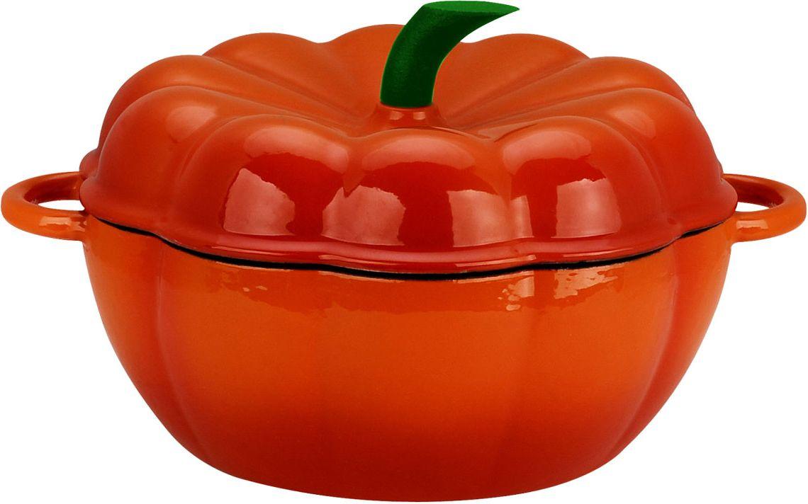 Кастрюля Тыква Vitesse с крышкой, цвет: оранжевый, 1,5 л + прихватки в Подарок! жаровня чугунная vitesse с прихватками 4 л