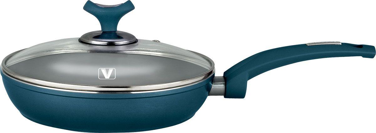 Сковорода Vitesse Renaissance с крышкой, с керамическим покрытием, цвет: бирюзовый. Диаметр 24 см + форма силиконовая для яиц и оладьевVS-2510-blueСковорода Vitesse Renaissance изготовлена из высококачественного алюминия с внутренним керамическим покрытием премиум-класса Eco-Cera. Благодаря керамическому покрытию пища не пригорает и не прилипает к поверхности сковороды, что позволяет готовить с минимальным количеством масла. Кроме того, такое покрытие абсолютно безопасно для здоровья человека, так как не содержит вредной примеси PFOA. Покрытие стойко к высоким температурам (до 450°С), устойчиво к царапинам.Внешнее цветное термостойкое покрытие охраняет цвет долгое время и обладает жироотталкивающими свойствами. Дно сковороды снабжено антидеформационным индукционным диском. Сковорода быстро разогревается, распределяя тепло по всей поверхности, что позволяет готовить в энергосберегающем режиме, значительно сокращая время, проведенное у плиты.Сковорода оснащена прочной ненагревающейся бакелитовой ручкой с покрытием Soft-Touch. Крышка из термостойкого стекла снабжена металлическим ободом, удобной стальной ручкой и отверстием для выпуска пара. Такая крышка позволит следить за процессом приготовления пищи без потери тепла. Она плотно прилегает к краям сковороды, сохраняя аромат блюд. Сковорода пригодна для использования на всех типах плит, включая индукционные. Подходит для чистки в посудомоечной машине.К сковороде прилагается силиконовая форма в виде сердца. Она предназначена для приготовления яичницы, выпекания блинов необычной формы и т.п. Необходимо просто залить приготавливаемую массу внутрь формочки, расположенной на сковородке, и подождать, пока блюдо не дойдет до нужной кондиции. Благодаря такой формочке, вы привнесете немного оригинальности и разнообразия в свой повседневный завтрак. Характеристики:Материал: алюминий, бакелит, силикон, нержавеющая сталь, стекло. Цвет: бирюзовый. Внутренний диаметр сковороды: 24 см. Высота стенки сковороды: 5 см. Толщина стенки: 3