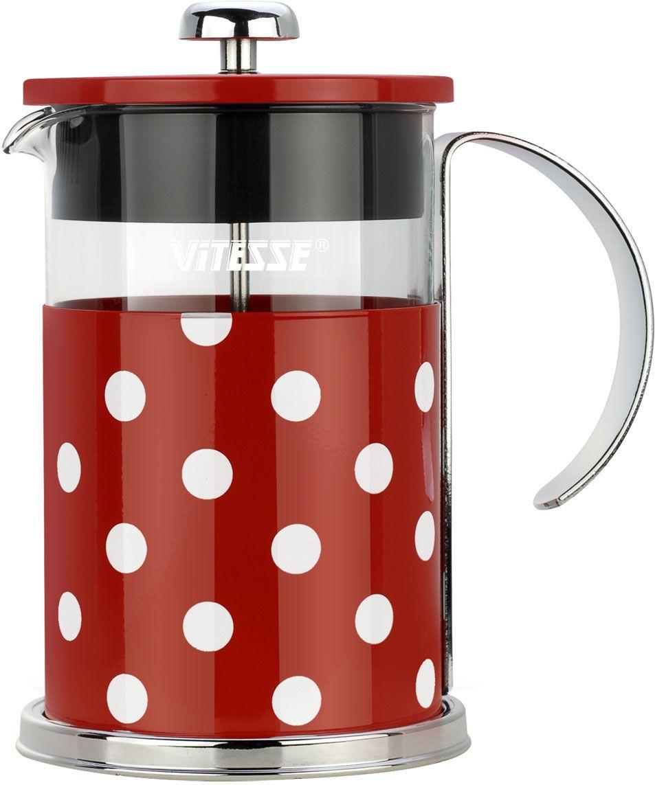 Кофеварка френч-пресс Vitesse, с мерной ложкой, цвет: красный, 800 мл. VS-2622VS-2622-redКофеварка Vitesse с фильтром френч-пресс поможет вам в приготовлении ароматного кофе.Колба френч-пресса Vitesse выполнена из термостойкого стекла, что позволяет наблюдать процесс настаиванияи заваривания напитка, а также обеспечивает гигиеничность посуды. Внешний корпус, выполненный изнержавеющей стали с цветным изображением, долговечен, прочен и устойчив к деформации и образованиюцарапин. Френч-пресс имеет удобную ручку, носик, а так же мерную ложку, выполненную из пластика.Кофеварки предназначены для приготовления кофе методом настаивания и отжима. Вы также можетеиспользовать френч-пресс для заваривания чая и различных трав.Уникальный дизайн полностью соответствует последним модным тенденциям в создании предметов бытовойтехники.Можно использовать в посудомоечной машине.Высота кофеварки (без учета крышки): 16 см.Размер кофеварки (с учетом крышки и ручки): 18,5 см х 16,5 см х 11,3 см.Диаметр основания: 11,3 см. Диаметр по верхнему краю: 9,7 см.Объем кофеварки: 800 мл.Длина ложки: 10 см.