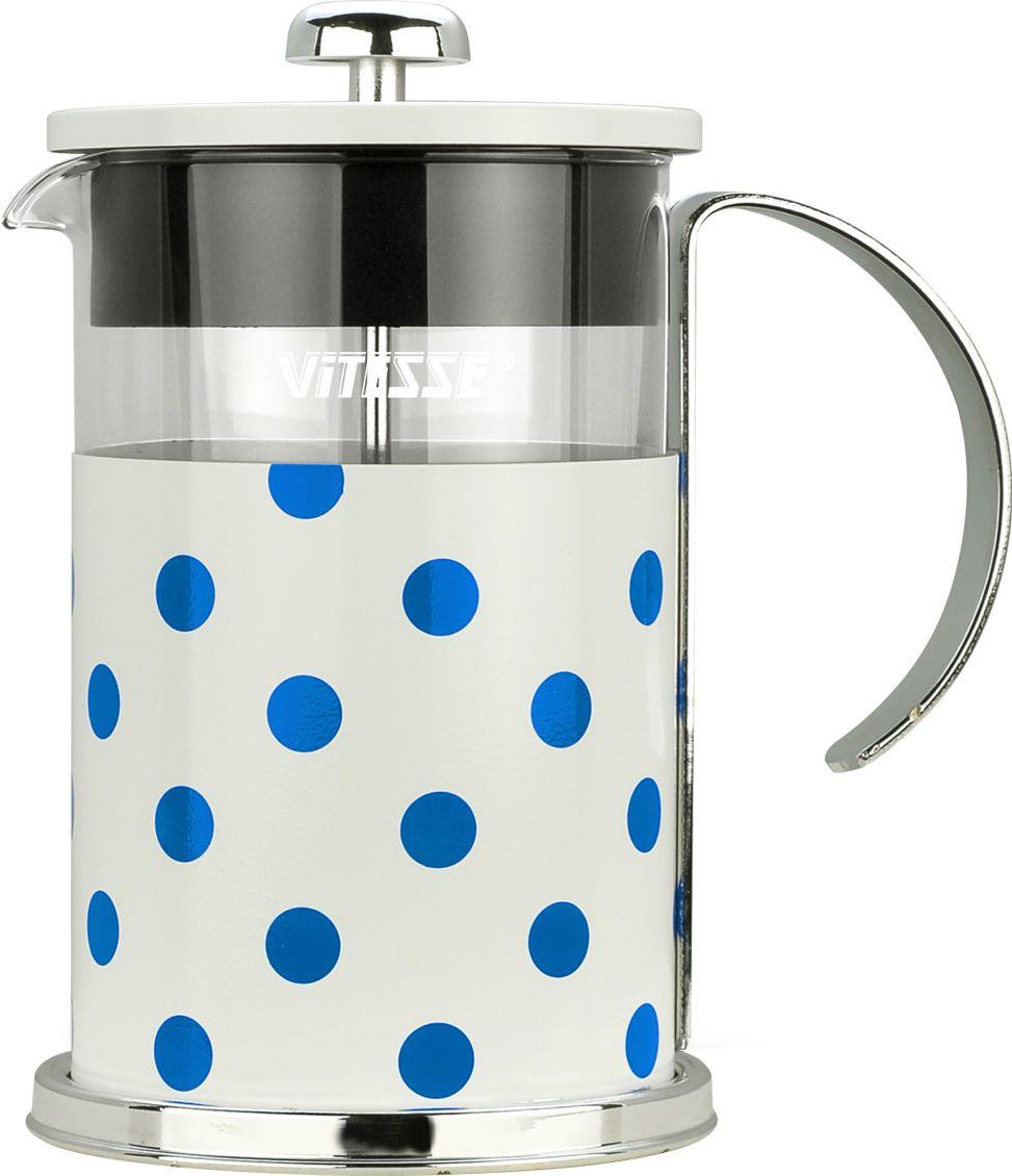 """Кофеварка """"Vitesse"""" с фильтром френч-пресс поможет вам в приготовлении ароматного кофе. Колба френч-пресса """"Vitesse"""" выполнена из термостойкого стекла, что позволяет наблюдать процесс настаивания и заваривания напитка, а также обеспечивает гигиеничность посуды. Внешний корпус, выполненный из нержавеющей стали с цветным изображением, долговечен, прочен и устойчив к деформации и образованию царапин. Френч-пресс имеет удобную ручку, носик, а так же мерную ложку, выполненную из пластика. Кофеварки предназначены для приготовления кофе методом настаивания и отжима. Вы также можете использовать френч-пресс для заваривания чая и различных трав. Уникальный дизайн полностью соответствует последним модным тенденциям в создании предметов бытовой техники.  Можно использовать в посудомоечной машине. Высота кофеварки (без учета крышки): 16 см.    Размер кофеварки (с учетом крышки и ручки): 18,5 см х 17 см х 11,2 см.  Диаметр основания: 11,2 см.   Диаметр по верхнему краю: 9,7 см.  Объем кофеварки: 800 мл.    Длина ложки: 10 см."""