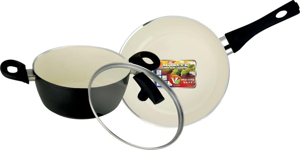 """Набор посуды Vitesse """"Black-and-White"""" состоит из кастрюли с крышкой и сковороды. Изделия выполнены из высококачественного алюминия. Внешнее термостойкое покрытие черного цвета, подвергшееся высокотемпературной обработке, обеспечивает легкую чистку. Внутреннее керамическое покрытие Eco-Cera белого цвета абсолютно безопасно для здоровья человека и окружающей среды, так как не содержит вредной примеси PFOA и имеет низкое содержание CO в выбросах при производстве. Керамическое покрытие обладает устойчивостью к царапинам и механическим повреждениям. Прочность покрытия позволяет готовить при температуре до 450°С и использовать металлические лопатки. Кроме того, с таким покрытием пища не пригорает и не прилипает к стенкам. Готовить можно с минимальным количеством подсолнечного масла. Дно изделий снабжено антидеформационным индукционным диском. Посуда быстро разогревается, распределяя тепло по всей поверхности, что позволяет готовить в энергосберегающем режиме, значительно сокращая время, проведенное у плиты.  Посуда оснащена удобными ненагревающимися ручками из бакелита с эффектом Soft-Touch.Крышка из термостойкого стекла позволит следить за процессом приготовления пищи без потери тепла. Она плотно прилегает к краям кастрюли, сохраняя аромат блюд. Можно использовать на газовых, электрических, стеклокерамических, галогенных, индукционных плитах. Можно мыть в посудомоечной машине.    Характеристики:Материал: алюминий, бакелит, нержавеющая сталь 18/10, стекло.   Цвет: черный, белый.   Внутренний диаметр сковороды: 24 см.   Высота стенки сковороды: 5 см.   Длина ручки сковороды: 18 см.   Диаметр индукционного диска сковороды: 18 см.   Объем кастрюли: 2,3 л.   Внутренний диаметр кастрюли: 20 см.   Высота стенки кастрюли: 9 см.   Диаметр индукционного диска кастрюли: 15 см.   Толщина стенки: 2,7 мм.   Толщина дна: 6 мм."""