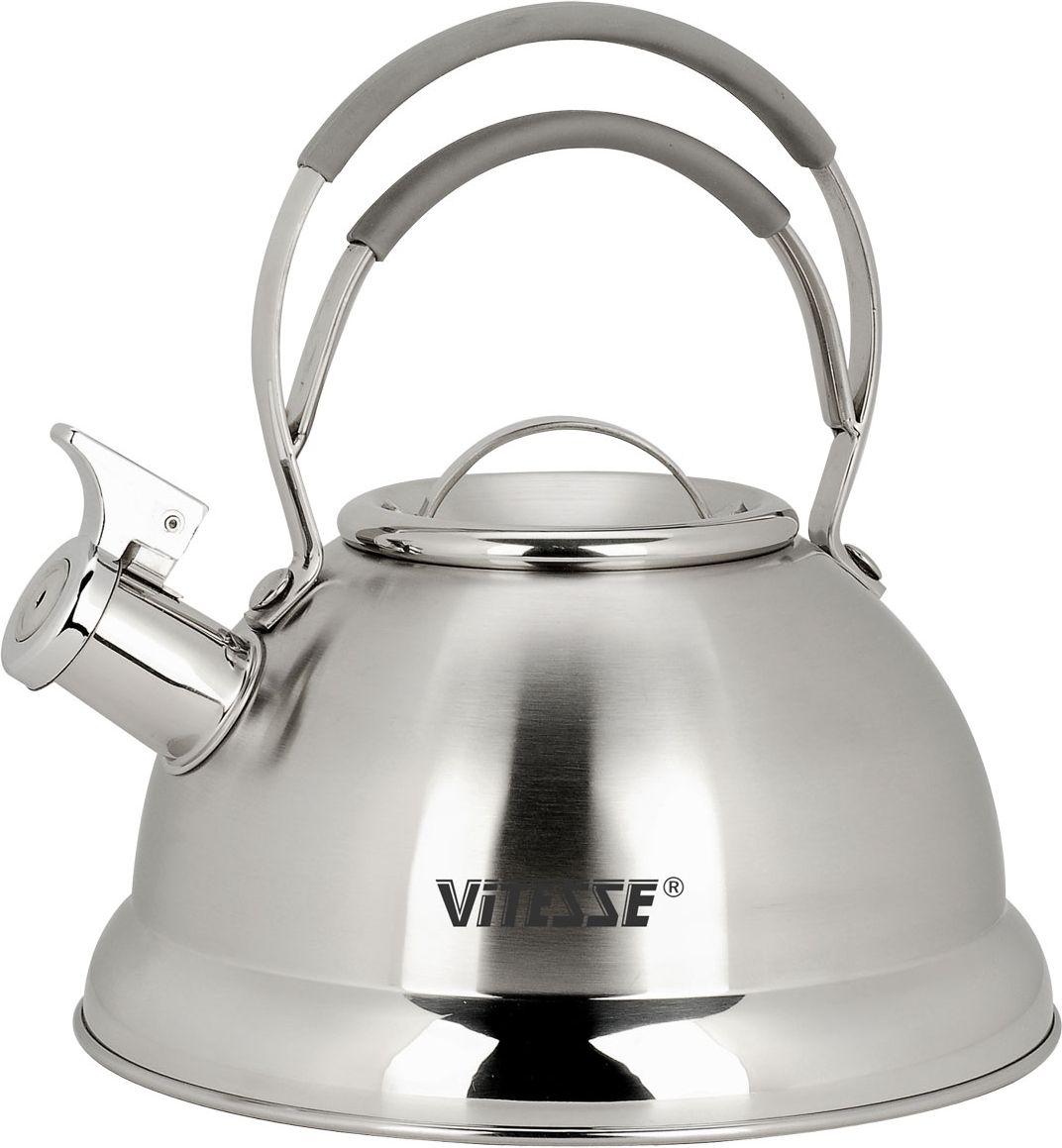 Чайник Vitesse Classic со свистком, 2,3 л. VS-7800VS-7800Чайник Vitesse Classic выполнен из высококачественной нержавеющей стали 18/10. Капсулированное дно с прослойкой из алюминия обеспечивает наилучшее распределение тепла. Носик чайника оснащен откидной насадкой-свистком, что позволит вам контролировать процесс подогрева или кипячения воды. Чайник имеет матовое покрытие корпуса. Ручка чайника изготовлена из нержавеющей стали с силиконовым покрытием. Чайник Vitesse Classic подходит для использования на газовой, стеклокерамической, галогеновой и электрической типах плит. Также изделие можно мыть в посудомоечной машине. Характеристики:Материал: нержавеющая сталь 18/10, силикон.Диаметр основания чайника: 21 см.Высота чайника (с учетом крышки и ручки):24 см.Объем:2,3 л.Размер упаковки:23 см х 23,5 см х 22,5 см. Изготовитель:Китай. Артикул:VS-7800.Кухонная посуда марки Vitesseиз нержавеющей стали 18/10 предоставит вам все необходимое для получения удовольствия от приготовления пищи и принесет радость от его результатов. Посуда Vitesse обладает выдающимися функциональными свойствами. Легкие в уходе кастрюли и сковородки имеют плотно закрывающиеся крышки, которые дают возможность готовить с малым количеством воды и экономией энергии, и идеально подходят для всех видов плит: газовых, электрических, стеклокерамических и индукционных. Конструкция дна посуды гарантирует быстрое поглощение тепла, его равномерное распределение и сохранение. Великолепно отполированная поверхность, а также многочисленные конструктивные новшества, заложенные во все изделия Vitesse, позволит вам открыть новые горизонты приготовления уже знакомых блюд. Для производства посуды Vitesseиспользуются только высококачественные материалы, которые соответствуют международным стандартам.