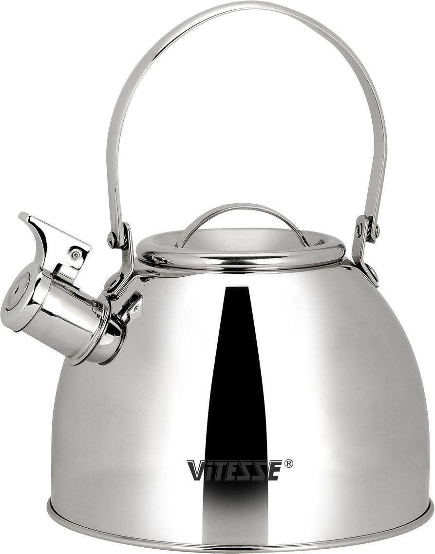 Чайник Vitesse Classic со свистком, 2,5 л. VS-7803VS-7803Чайник Vitesse Classic выполнен из высококачественной нержавеющей стали 18/10. Капсулированное дно с прослойкой из алюминия обеспечивает наилучшее распределение тепла. Носик чайника оснащен откидным свистком, что позволит вам контролировать процесс подогрева или кипячения воды. Подвижная ручка не нагревается, фиксируется в нужное вам положение. Чайник Vitesse Classic подходит для использования на всех типах плит. Также изделие можно мыть в посудомоечной машине. Характеристики: Материал: нержавеющая сталь 18/10.Диаметр основания чайника: 19 см.Высота чайника (с учетом крышки и ручки):25 см.Объем:2,5 л.Размер упаковки:19,5 см х 19,5 см х 16,5 см. Изготовитель:Китай. Артикул:VS-7803.Кухонная посуда марки Vitesseиз нержавеющей стали 18/10 предоставит вам все необходимое для получения удовольствия от приготовления пищи и принесет радость от его результатов. Посуда Vitesse обладает выдающимися функциональными свойствами. Легкие в уходе кастрюли и сковородки имеют плотно закрывающиеся крышки, которые дают возможность готовить с малым количеством воды и экономией энергии, и идеально подходят для всех видов плит: газовых, электрических, стеклокерамических и индукционных. Конструкция дна посуды гарантирует быстрое поглощение тепла, его равномерное распределение и сохранение. Великолепно отполированная поверхность, а также многочисленные конструктивные новшества, заложенные во все изделия Vitesse, позволит вам открыть новые горизонты приготовления уже знакомых блюд. Для производства посуды Vitesseиспользуются только высококачественные материалы, которые соответствуют международным стандартам.