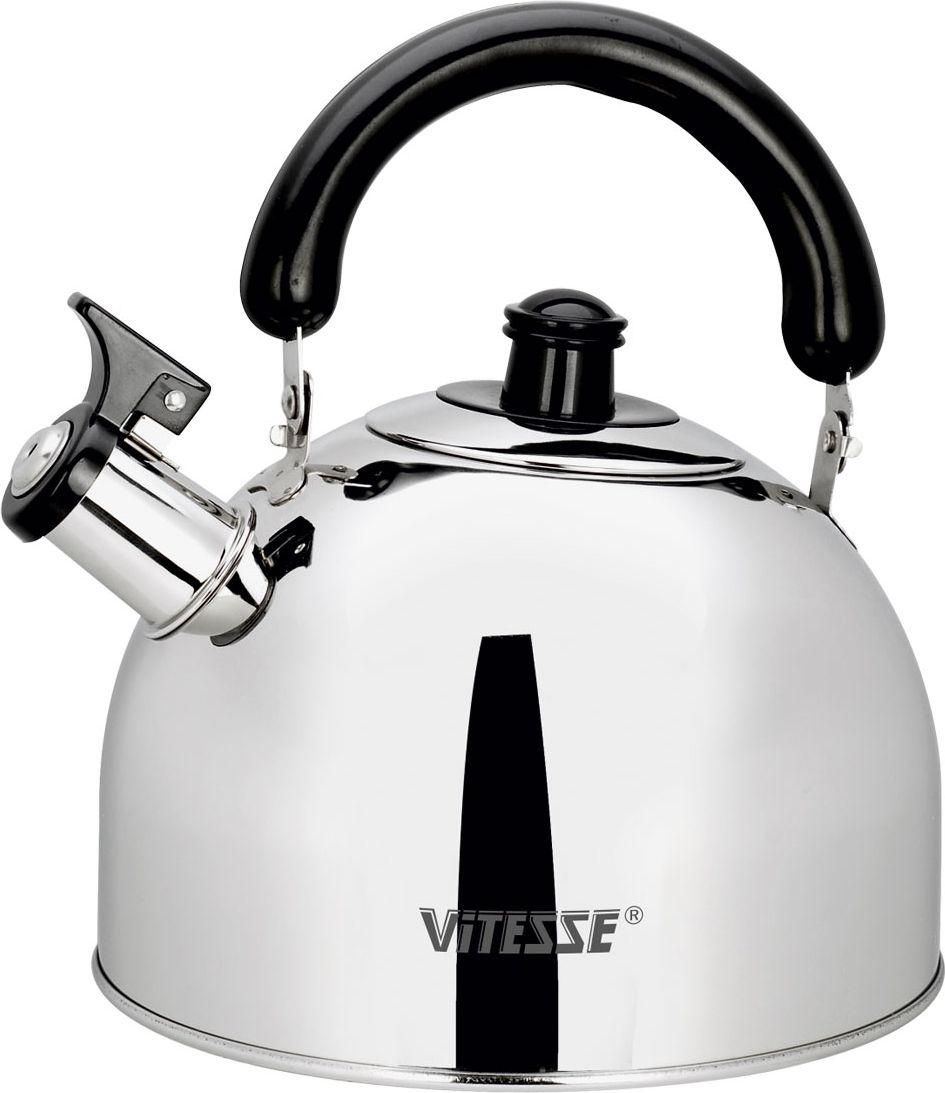 Чайник Vitesse со свистком, 2,5 л. VS-7807VS-7806Чайник Vitesse выполнен из высококачественной нержавеющей стали 18/10 с зеркальной полировкой. Капсулированное дно с прослойкой из алюминия обеспечивает наилучшее распределение тепла. Носик чайника оснащен откидной насадкой-свистком, что позволит вам контролировать процесс подогрева или кипячения воды. Подвижная ручка чайника изготовлена из пластика черного цвета.Чайник Vitesse подходит для использования на всех типах плит, включая индукционные. Также изделие можно мыть в посудомоечной машине. Характеристики:Материал: нержавеющая сталь 18/10, пластик. Объем:2,5 л. Диаметр основания чайника: 19 см. Высота чайника (с учетом крышки и ручки):22 см. Размер упаковки:19,5 см х 16 см х 19 см.Изготовитель:Китай. Артикул:VS-7807.Кухонная посуда маркиVitesseиз нержавеющей стали 18/10 предоставит вам все необходимое для получения удовольствия от приготовления пищи и принесет радость от его результатов. ПосудаVitesseобладает выдающимися функциональными свойствами. Легкие в уходе кастрюли и сковородки имеют плотно закрывающиеся крышки, которые дают возможность готовить с малым количеством воды и экономией энергии, и идеально подходят для всех видов плит: газовых, электрических, стеклокерамических и индукционных. Конструкция дна посуды гарантирует быстрое поглощение тепла, его равномерное распределение и сохранение.Великолепно отполированная поверхность, а также многочисленные конструктивные новшества, заложенные во все изделияVitesse , позволит вам открыть новые горизонты приготовления уже знакомых блюд. Для производства посудыVitesse используются только высококачественные материалы, которые соответствуют международным стандартам.