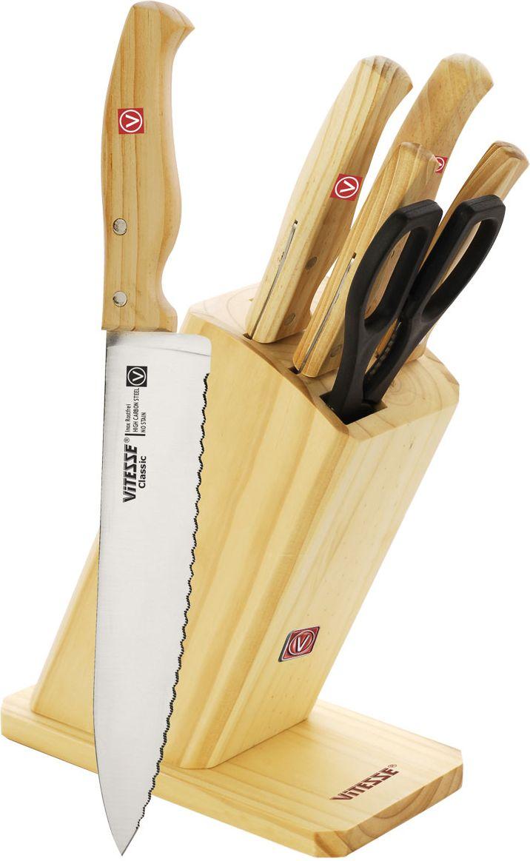 """Набор """"Vitesse"""" предоставит вам все необходимые возможности в успешном приготовлении пищи и порадует вас своими результатами.  При изготовлении ножей используется высоко-углеродистая каленая сталь AISI 420J2, которая обеспечивает высокие режущие свойства кромки клинка. Сечение клинка ножей """"Vitesse"""" - клинообразно, что позволяет режущей кромке быть продолжительное время острой. Тщательно разработанный дизайн деревянной рукоятки и качество ее шлифовки позволяет ножу удобно располагаться в руке. Ручки ножниц выполнены из прочного пластика.  Предметы набора компактно размещаются в стильной подставке, которая выполнена из высококачественной древесины с полимерным покрытием. Физические и практические свойства данного материала гарантируют длительный эксплуатационный период.   Набор включает в себя:   Нож поварской - гибкость у окончания клинка позволяет нарезать; утолщенное основание клинка позволяет рубить мясо, рыбу, овощи и фрукты. Плоской поверхностью клинка можно давить чеснок или отбивать мясо. Обух клинка можно применять для дробления костей.  Нож для хлеба - нож с зубчатой кромкой лезвия применяется для нарезки как свежих, так и черствых хлебобулочных изделий. При резке таким ножом мякиш изделия не нарушается. Нож применяется для резки рогаликов, булочек, бубликов и рулетов.  Нож для нарезания мяса - идеальный инструмент для нарезки мяса для жаркого, ветчины и других сортов мяса.  Нож универсальный - применяется для нарезки фруктов, сыра и приготовления бутербродов.  Нож для очистки - используется для чистки овощей и фруктов, приготовления гарниров и салатов. Также применяется для отделения костей в птице или рыбе.  Ножницы. Характеристики:   Материал:  нержавеющая сталь, пластик, дерево.   Длина лезвия поварского ножа:  19 см.   Общая длина поварского ножа:  32,5 см.   Длина лезвия ножа для хлеба:  19 см.   Общая длина ножа для хлеба:  32 см.   Длина лезвия ножа для нарезки:  19,5 см.   Общая длина ножа для нарезки:  32,5 см.   Длина лезвия универсального ножа: """