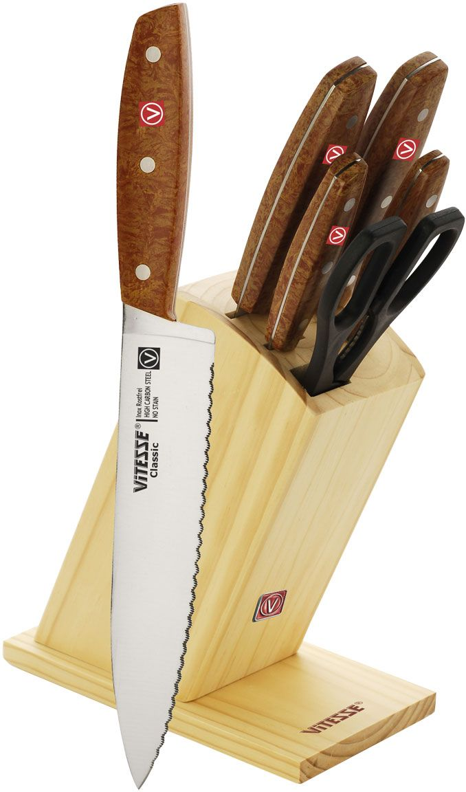 Набор ножей Vitesse, 7 предметов. VS-8127VS-8127Набор Vitesse предоставит вам все необходимые возможности в успешном приготовлении пищи и порадует вас своими результатами. При изготовлении ножей используется высоко-углеродистая каленая сталь AISI 420J2, которая обеспечивает высокие режущие свойства кромки клинка. Сечение клинка ножей Vitesse - клинообразно, что позволяет режущей кромке быть продолжительное время острой. Тщательно разработанный дизайн деревянной рукоятки позволяет ножу удобно располагаться в руке.Предметы набора компактно размещаются в стильной подставке, которая выполнена из высококачественной древесины с полимерным покрытием. Физические и практические свойства данного материала гарантируют длительный эксплуатационный период. Набор включает в себя: Нож поварской - гибкость у окончания клинка позволяет нарезать; утолщенное основание клинка позволяет рубить мясо, рыбу, овощи и фрукты. Плоской поверхностью клинка можно давить чеснок или отбивать мясо. Обух клинка можно применять для дробления костей. Нож для хлеба - нож с зубчатой кромкой лезвия применяется для нарезки как свежих, так и черствых хлебобулочных изделий. При резке таким ножом мякиш изделия не нарушается. Нож применяется для резки рогаликов, булочек, бубликов и рулетов.Нож для нарезания мяса - идеальный инструмент для нарезки мяса для жаркого, ветчины и других сортов мяса.Нож универсальный - применяется для нарезки фруктов, сыра и приготовления бутербродов. Нож для очистки - используется для чистки овощей и фруктов, приготовления гарниров и салатов. Также применяется для отделения костей в птице или рыбе.Ножницы. Характеристики: Материал:нержавеющая сталь, пластик, дерево. Длина лезвия поварского ножа:19 см. Общая длина поварского ножа:33,5 см. Длина лезвия ножа для хлеба:19 см. Общая длина ножа для хлеба:33,5 см. Длина лезвия ножа для нарезки:19 см. Общая длина ножа для нарезки:33,5 см. Длина лезвия универсального ножа:11,5 см. Общая длина универсального ножа:22 см. Длина лезвия ножа для 