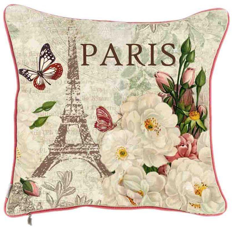 Наволочка декоративная Apolena Весна в Париже, 45 х 45 см декоративные подушки santalino декоративная наволочка mignon 45х45