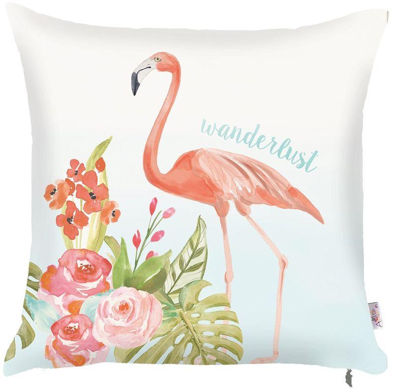 Наволочка декоративная Apolena Flamingo, 43 х 43 смP502-8384/1Наволочка для декоративной подушки Apolena изготовлена из поликоттона (20% хлопок, 80% полиэстер). Удобная скрытая молния позволяет легко снимать наволочку для стирки или замены. Рисунок на чехле выполнен в акварельной технике, что придает изделию легкость и особый шарм. Основной цвет чехла - белый, но благодаря высококачественному материалу изделие не теряет яркости цвета и контрастности очертаний после многочисленных стирок. Рекомендуется выбирать деликатный режим и предварительно выворачивать чехол наизнанку.Декоративная подушка оригинально оформит интерьер, также используется для комфортного сидения на диване или в кресле, а также в качестве подголовника.