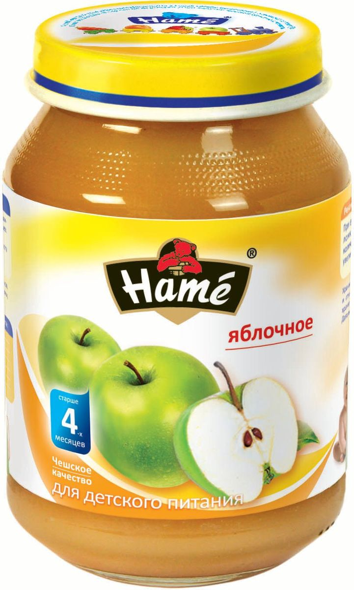 Hame яблоко фруктовое пюре, 190 г23600021702101Фруктовое пюре для детей раннего возраста. Чешское качество.Пищевая ценность в 100 г продукта:Белок, г - 0,3Жир, г - 0,3Углеводы, г - 19,9При вскрытии банки должен быть слышен хлопок. Чистой сухой ложкой перемешать содержимое и взять необходимое количество. Прием пюре начинать с 1 чайной ложки в день, увеличивая к 12 месяцам до 100 г в день. Не добавлять сахар.