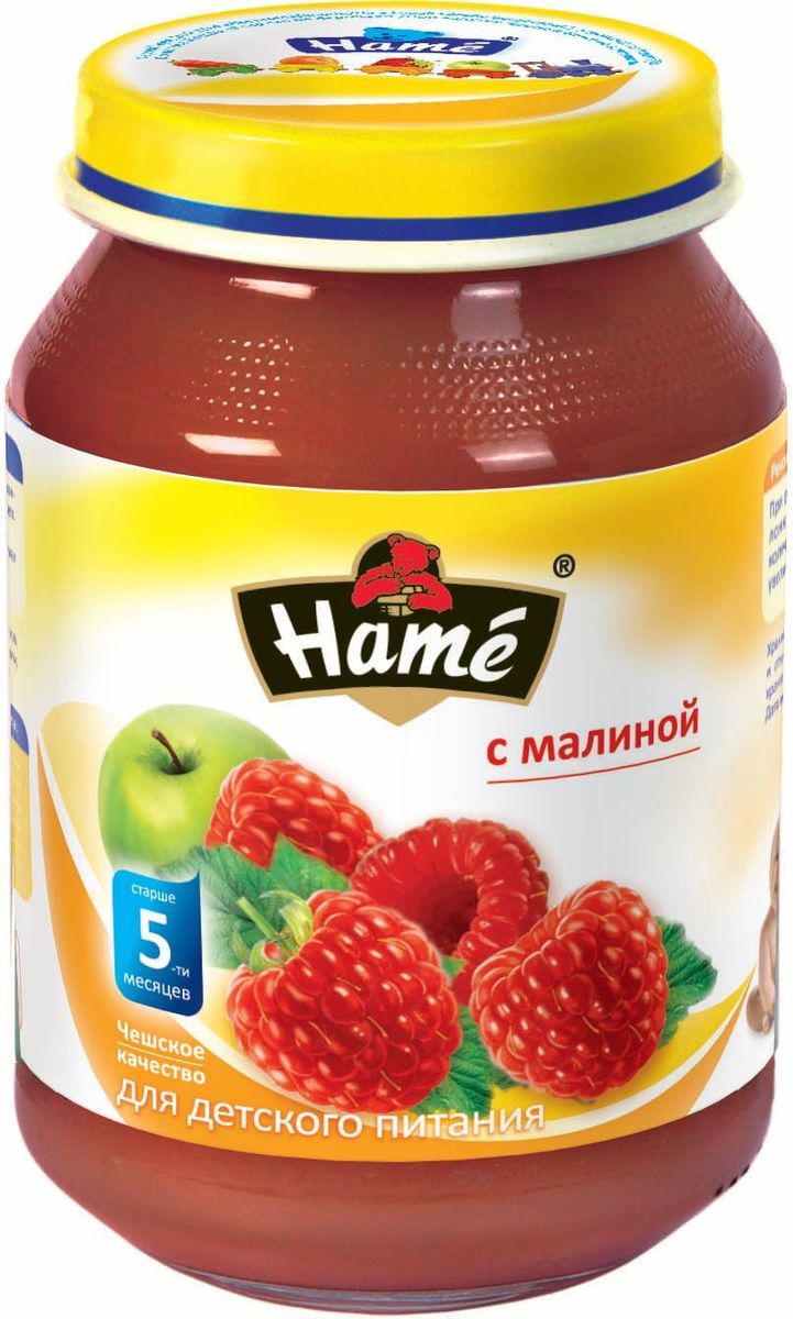 Hame малина фруктовое пюре, 190 г23600121702101Фруктовое пюре для детей раннего возраста. Чешское качество.Пищевая ценность в 100 г продукта:Белок, г - 0,3Жир, г - 0,3Углеводы, г - 19,9При вскрытии банки должен быть слышен хлопок. Чистой сухой ложкой перемешать содержимое и взять необходимое количество. Прием пюре начинать с 1 чайной ложки в день, увеличивая к 12 месяцам до 100 г в день. Не добавлять сахар.