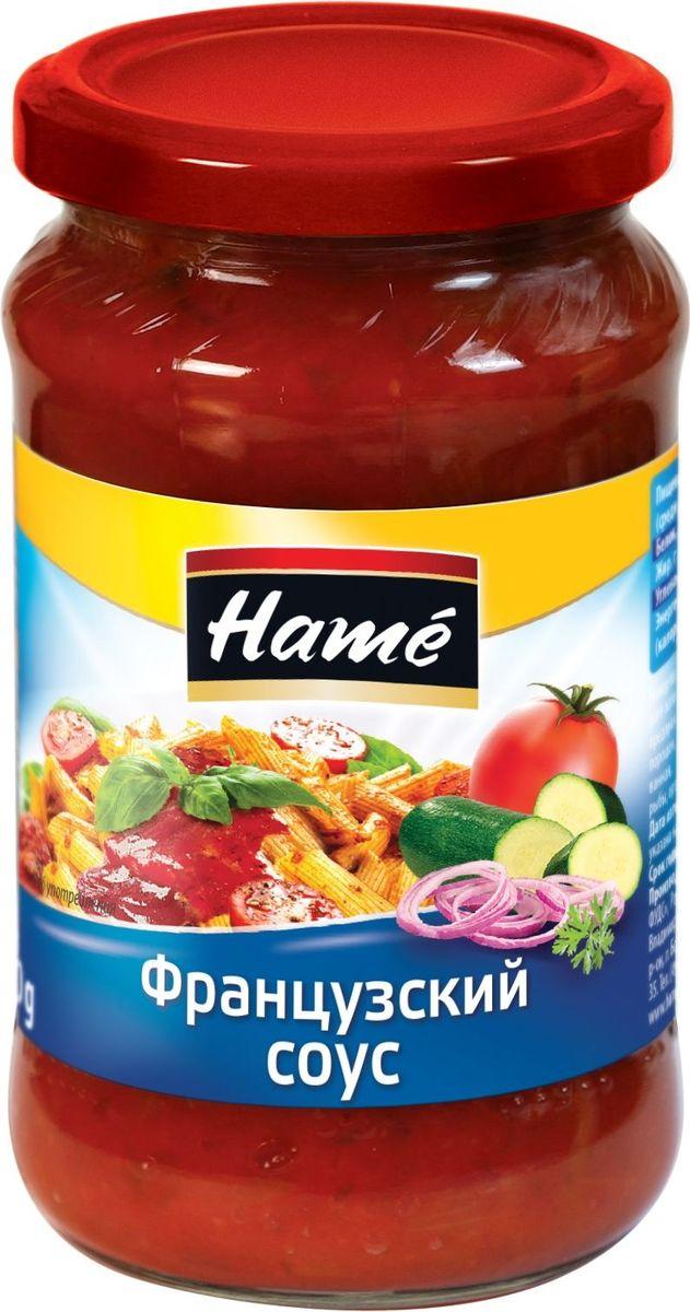Hame Французский соус, 350 г23970502000101Продукт готов к употреблению.Пищевая ценность в 100 г продукта:Белок, г - 0,3Жир, г - 3Углеводы, г - 13