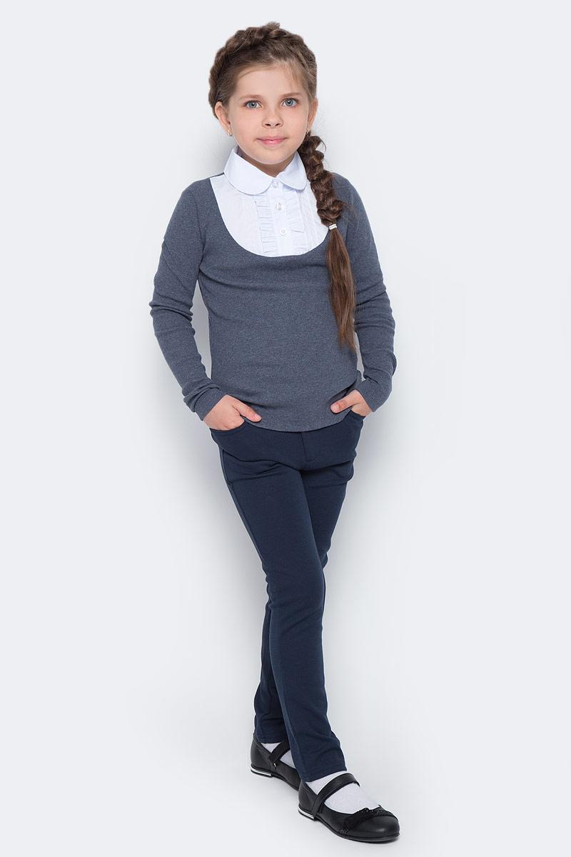 Блузка для девочки Free Age, цвет: белый, темно-серый меланж. ZG 28086-MW2. Размер 122, 6 летZG 28086-MW2Блузка для девочки Free Age с длинным рукавом выглядит повседневно и нарядно. Изготовлена из двух полотен: трикотаж и поплин. Спереди кокетка блузки украшена застроченными складками и декоративными рюшами. Застегивается спереди на планку с пуговицами.