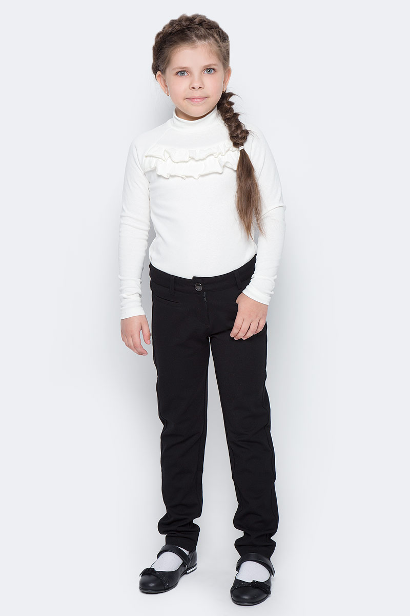 Брюки для девочки Vitacci, цвет: черный. 2173079-03. Размер 1402173079-03Брюки классические школьные для девочки выполнены из качественного материала. Модель застегивается на комбинированную застежку, имеются шлевки для ремня.