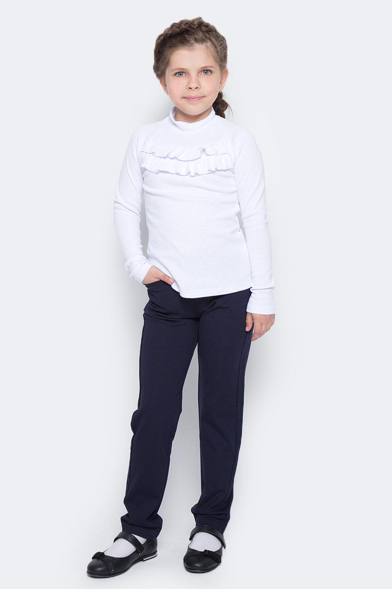 Водолазка для девочки Nota Bene, цвет: белый. CJR27035A01. Размер 134CJR27035A01Водолазка для девочки Nota Bene выполнена из хлопкового трикотажа. Модель с длинными рукавами и воротником-стойкой на груди декорирована рюшами.