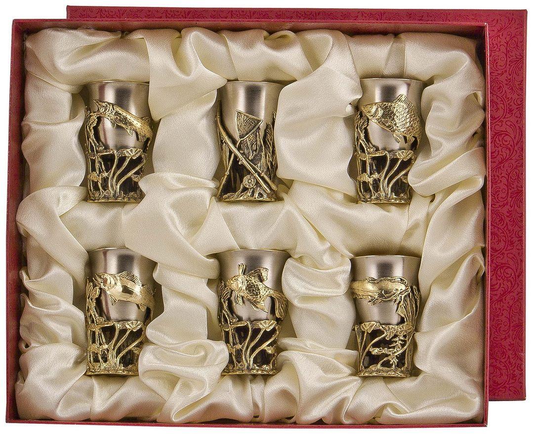 Набор стопок Арт-студия Классик, 6 шт. СР-06СР-06латунь точное художественное литье, внутри- покрытие золотом 0,4591 г.