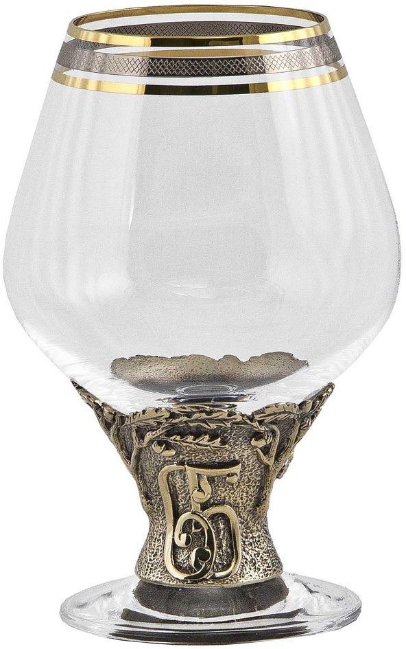 Бокал для бренди Арт-студия Классик 65 лет, 185 мл. БББ-65лет/КБББ-65лет/КЛатунь точное художественное литье, Богемское стекло с золотым декорированием. Упаковка - картон.