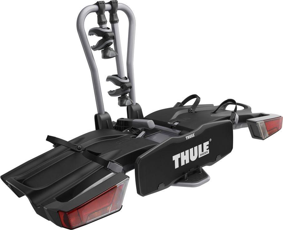 Велобагажник на фаркоп Thule Easy Fold, для перевозки 2-х велосипедов, складывающийся. 932932Thule EasyFold 932 - Самое удобное полностью складываемое крепление для двух велосипедов любого типа (в том числе электрических; для двух велосипедов).