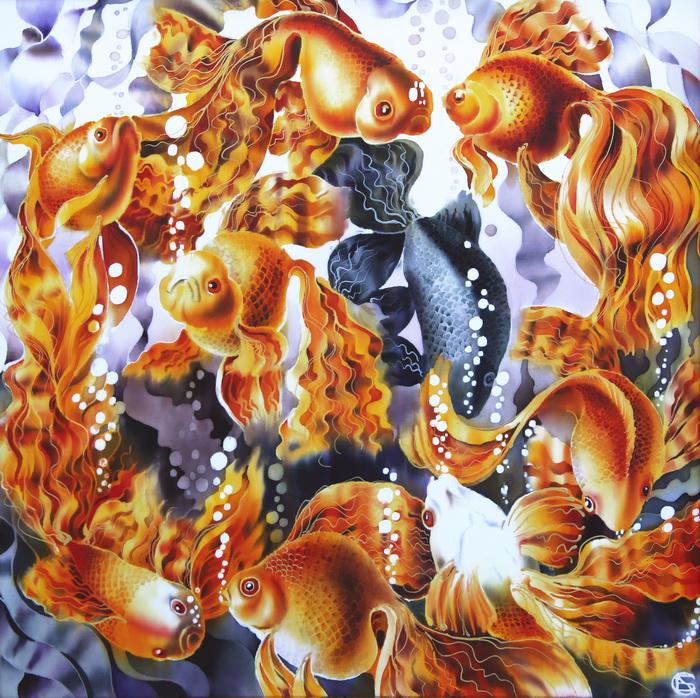 Картина Золотые рыбки. Шелк, холодный батик. 50х50 смАРТ 960501Зубарева Светлана родилась на Урале, в городе Челябинск.Училась в художественной школе (1975-1980 годы).В 1987 году окончила Уральскую государственную архитектурно-художественную академию.