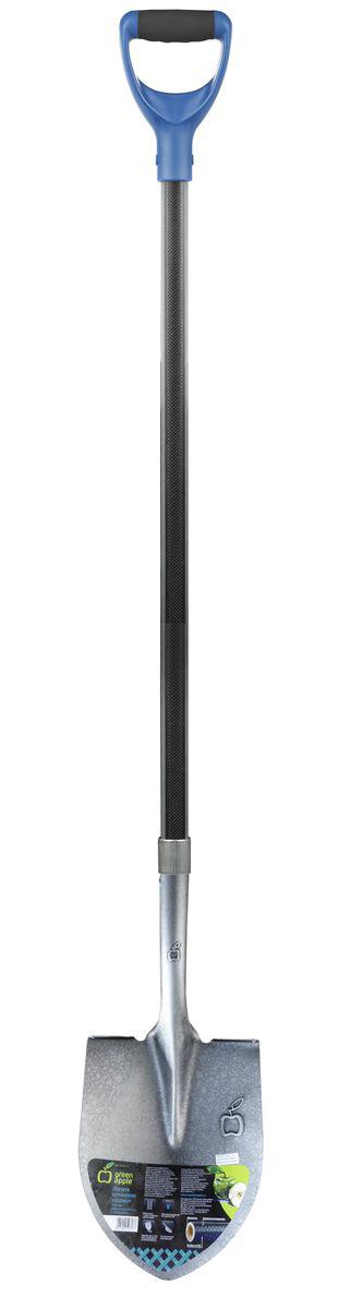 Лопата штыковая Green Apple, с черенком из фибергласса, длина 160 смGALS6-75Штыковая лопата Green Apple предназначена для вскапывания, удаления, рыхления и перемещение грунта. Рабочая часть лопаты изготовлена из марганцевой закаленной стали. Благодаря пружинным свойствам стали полотно всегда сохраняет свою первоначальную форму. D-образная рукоятка создана для оптимального приложения усилия и обеспечивает удобный, нескользящий захват. Черенок лопаты состоит из фибергласса с покрытием в виде протектора из полиэстера и вспомогательными вставками из термопластичной резины. Длина лопаты: 160 см. Размер рабочей части: 22 см х 28 см.