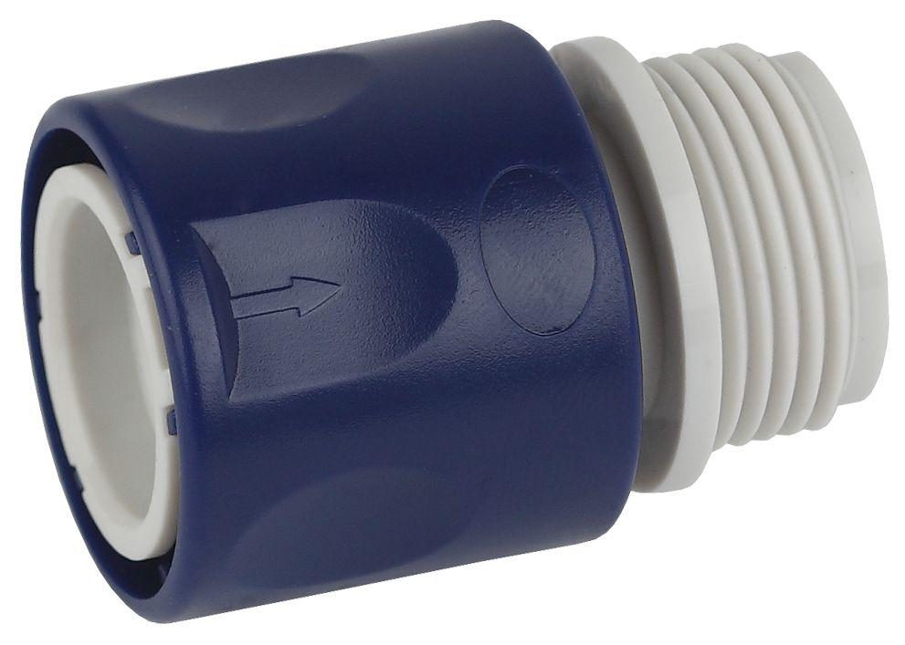 Коннектор для шланга Green Apple ЕСО, с внешней резьбой, 19 мм (3/4)GAES20-10Коннектор для шланга с внешней резьбой Green Apple ЕСО - функциональное приспособление, которое предназначено для легкой и удобной смены насадок. С помощью этого простого, быстросъемного соединителя вы получите дополнительный комфорт при поливочных работах. Посадочный диаметр для крана 3/4. Данная модель совместима со всеми адаптерами, переходниками-соединителями, тройниками. Насадка выполнена из высококачественной пластмассы, которая отличается устойчивостью к механическим повреждениям и истиранию.