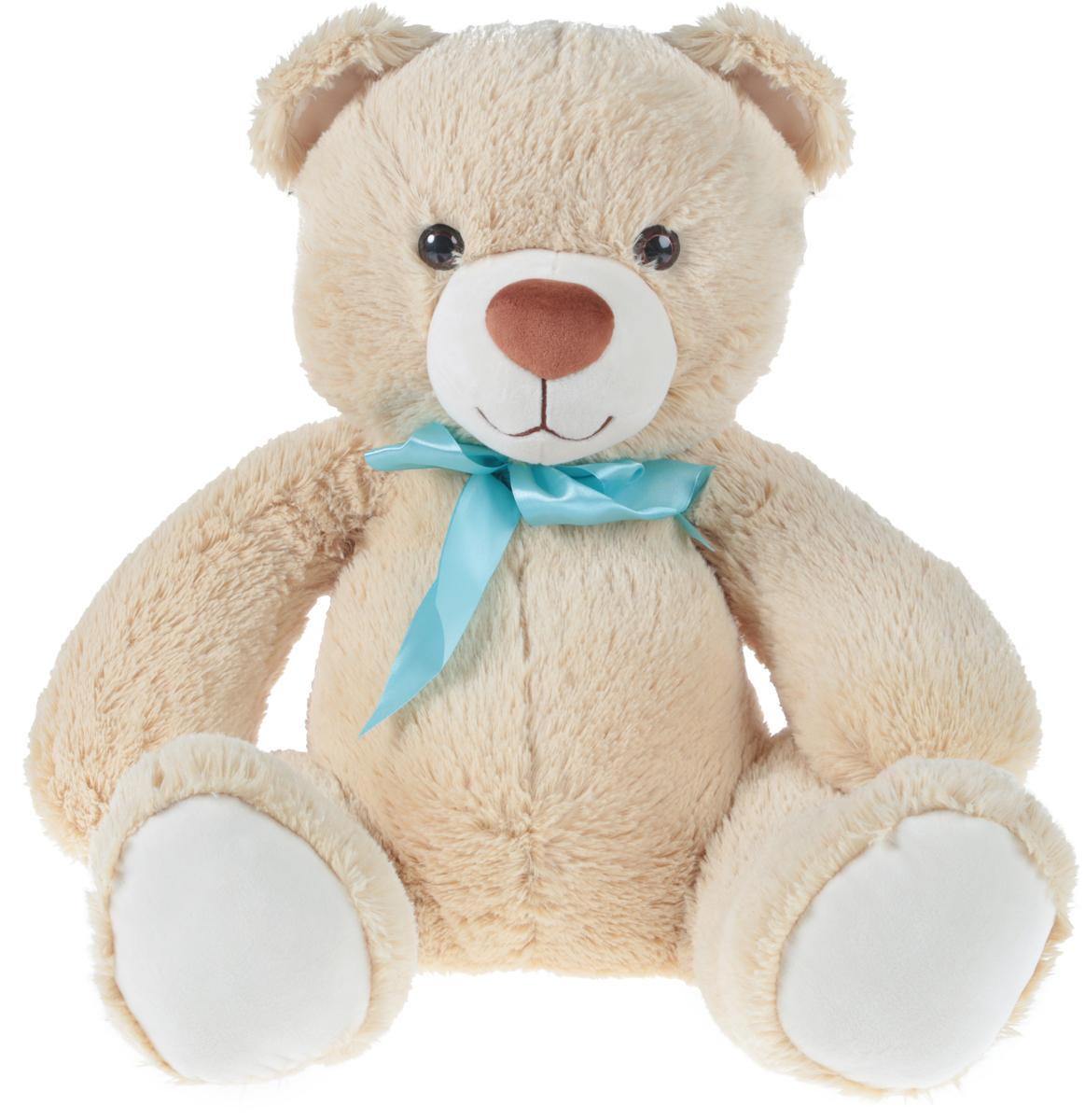 СмолТойс Мягкая игрушка Медвежонок цвет бежевый с бантиком 40 см - Мягкие игрушки
