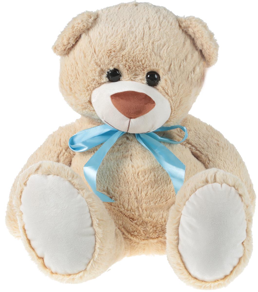СмолТойс Мягкая игрушка Мишка цвет бежевый с бантиком 70 см смолтойс мягкая игрушка зайка даша цвет салатовый 41 см