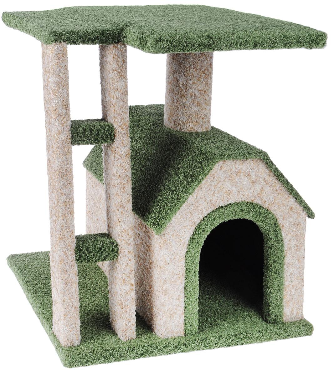 Игровой комплекс для кошек Грызлик Ам  Клайд , цвет: бежевый, зеленый, 50 x 38 x 52 см - Когтеточки и игровые комплексы