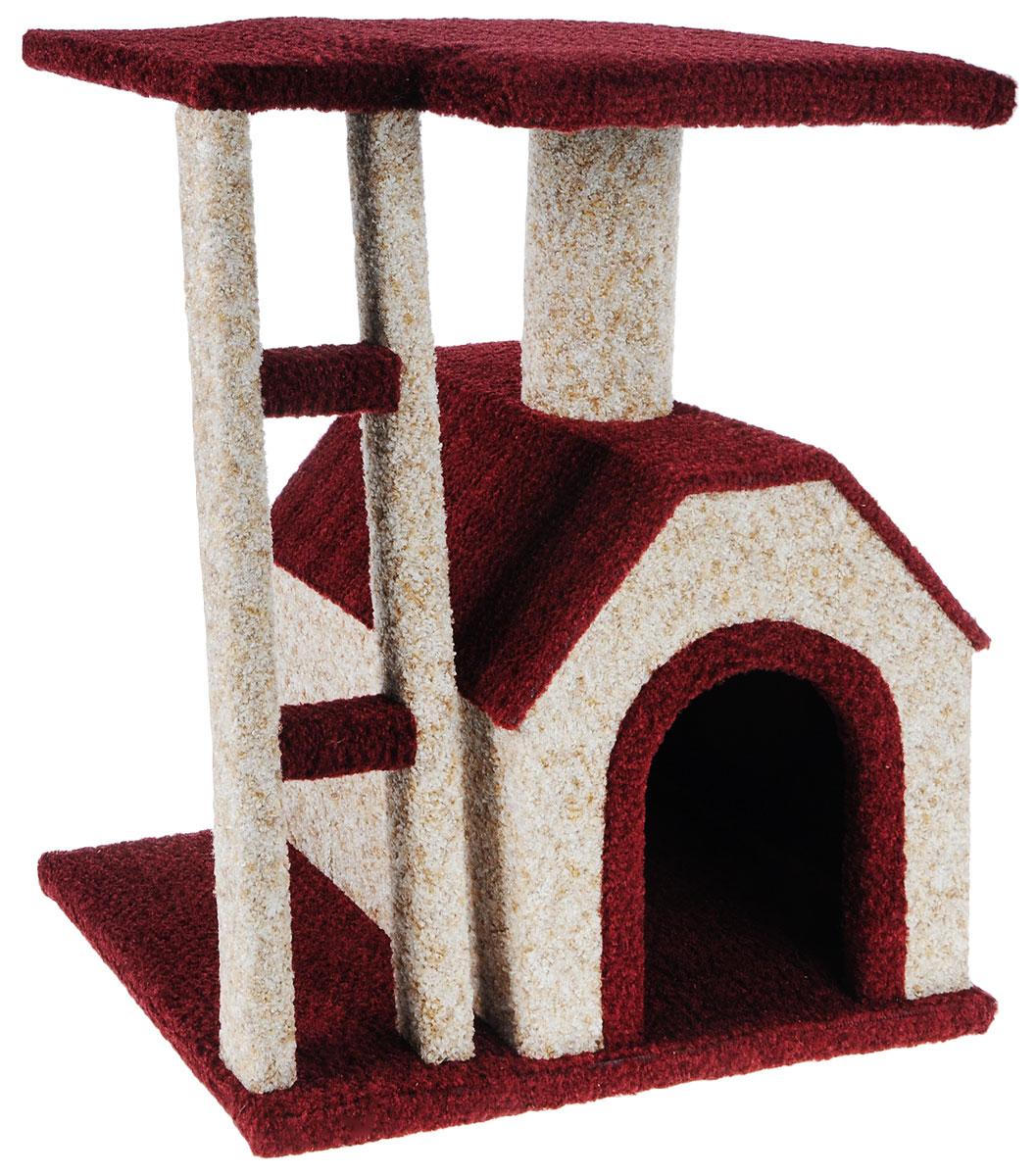 Игровой комплекс для кошек Грызлик Ам Клайд, цвет: бежевый, бордовый, 50 x 38 x 52 см40.GR.077Игровой комплекс для кошек Грызлик Ам Клайд выполнен из высококачественного МДФ и обтянут ковролином. Комплекс состоит из нескольких элементов. В домике животное сможет спрятаться от посторонних глаз и отдохнуть. Верхняя полка прекрасно послужит в качестве лежанки и наблюдений за происходящим. Ковролин, из которого сделан комплекс, обеспечивает естественный уход за когтями питомца, поэтому теперь ваша мебель и стены будут в сохранности. Изделие также имеет лесенку. Уютный комплекс для игр и отдыха станет излюбленным местом вашего питомца. Оригинальный дизайн отлично впишется в интерьер помещения. Размер домика: 34 х 37 х 32 см. Размер верхней полки: 50 х 38 см.