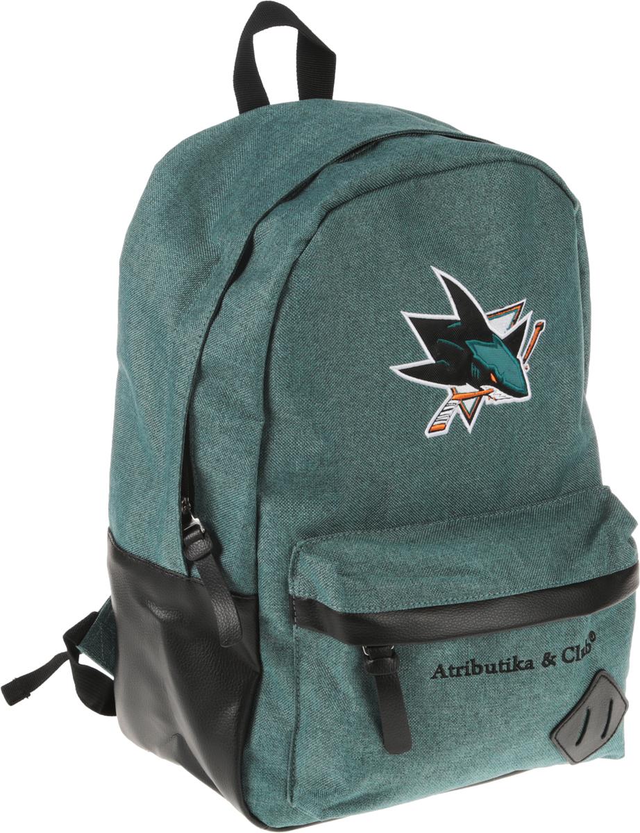 Рюкзак Atributika & Club  San Jose Sharks , цвет: зеленый меланж, 25 л. 58061 - Хоккейные клубы