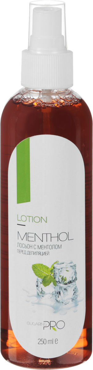 Sugaring Pro Лосьон перед депиляцией с ментолом, 250 мл00000006287Лосьон перед депиляцией и шугарингом для удаления с кожи перед депиляцией остатков дезодоранта, крема или масла. Благодаря входящему в состав ментолу снижает болевые ощущения во время депиляции