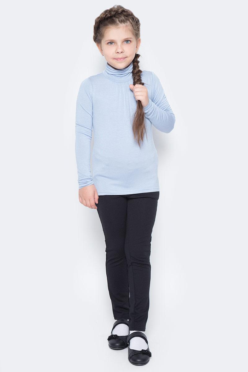 Водолазка для девочки Button Blue, цвет: голубой. 217BBGS18011800. Размер 146, 11 лет217BBGS18011800Купить водолазку в школу совсем не сложно! Светлая водолазка из мягкой вискозы с эластаном - прекрасное решение на каждый день. Модель с длинными рукавами с высоким воротником.
