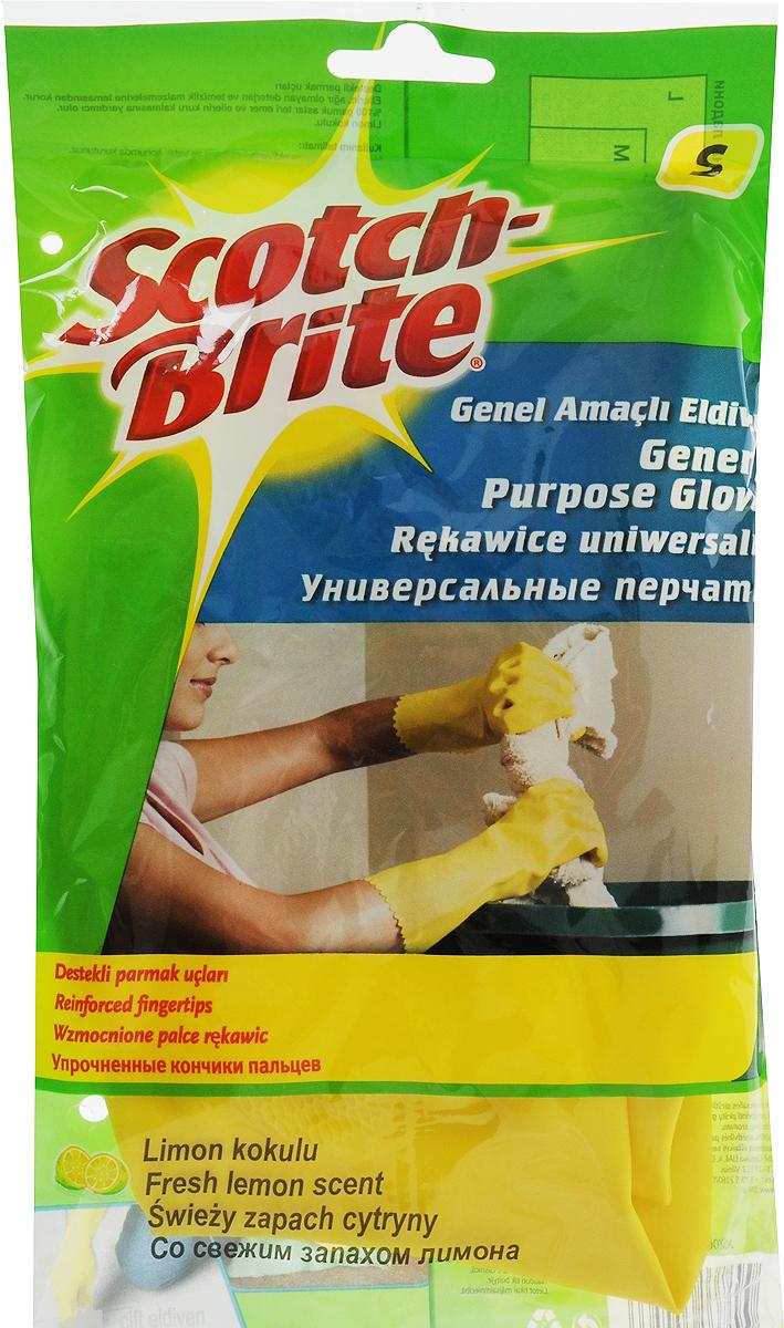 Перчатки для уборки на кухне Scotch-Brite, с запахом лимона, цвет: желтый. Размер S5687Перчатки для уборки на кухне Scotch-Brite, изготовленные из натурального латекса, защитят руки от соприкосновения с чистящими и моющими средствами. Хлопковое напыление внутри впитывает влагу, оставляя кожу рук сухой. Эластичные и прочные перчатки специально предназначены для многократного использования. Имеют свежий аромат лимона.