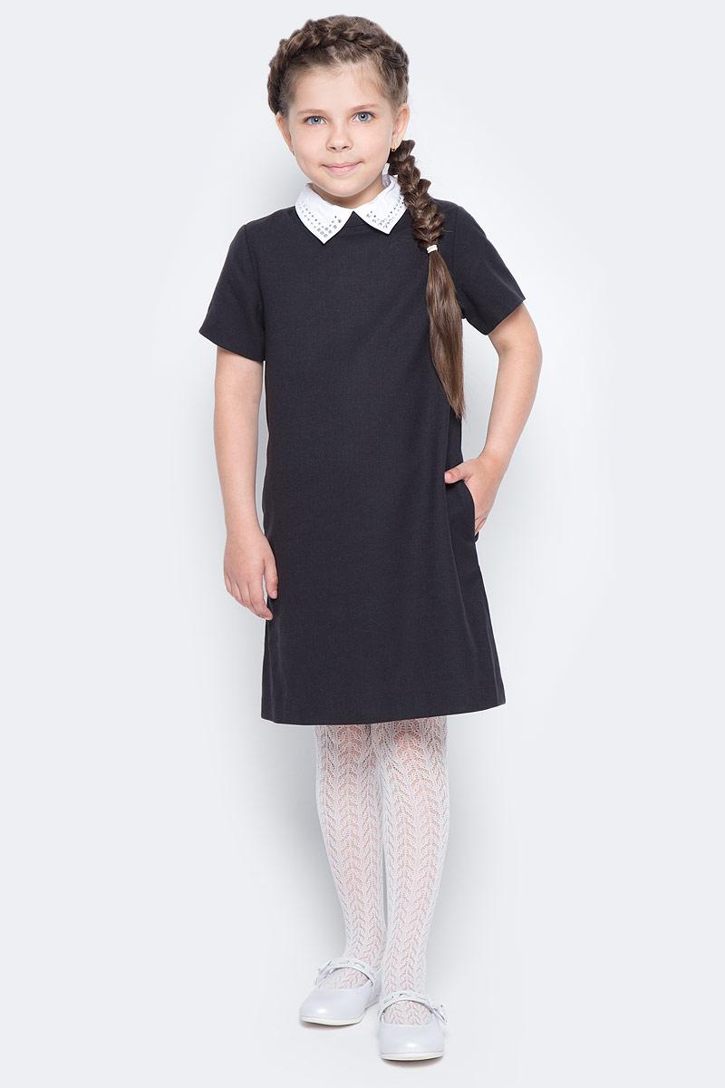 Платье для девочки Gulliver, цвет: черный. 217GSGC2504. Размер 128217GSGC2504Строгое школьное платье от Gulliver, что может лучше отражать деловой дресс-код учебных заведений? Плотная мягкая ткань, легкий трапециевидный силуэт, отстегивающийся воротник с деликатными стразами, карманы в боковых швах. Именно такими и должны быть модные школьные платья - красивыми, комфортными и элегантными. Купить школьное платье можно с кедами или кроссовками. Этот стилевой микс придаст образу динамичности и остроты.