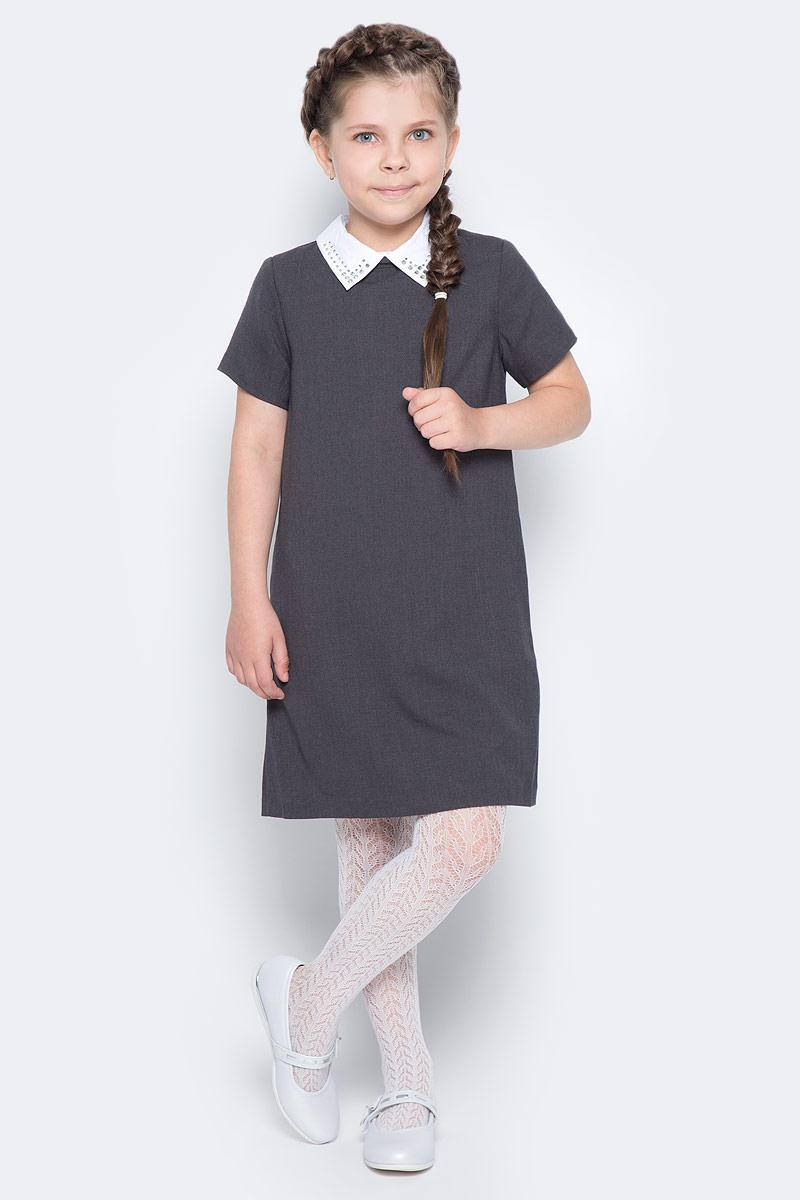 Платье для девочки Gulliver, цвет: темно-серый. 217GSGC2506. Размер 122217GSGC2506Строгое школьное платье от Gulliver, что может лучше отражать деловой дресс-код учебных заведений? Плотная мягкая ткань, легкий трапециевидный силуэт, отстегивающийся воротник с деликатными стразами, карманы в боковых швах. Именно такими и должны быть модные школьные платья - красивыми, комфортными и элегантными. Купить школьное платье можно с кедами или кроссовками. Этот стилевой микс придаст образу динамичности и остроты.