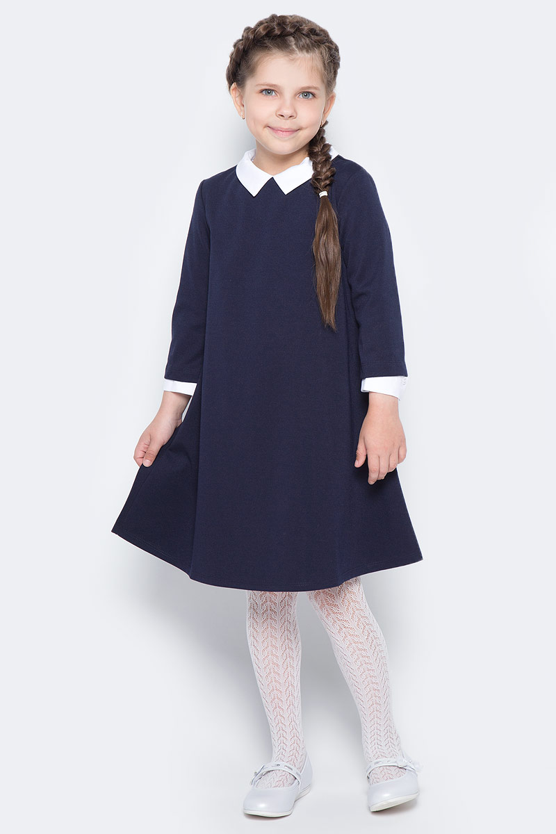 Платье для девочки Orby School, цвет: темно-синий, белый. 70444_OLG_вар.1. Размер 146/152, 10-11 лет orby orby кардиган синий