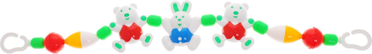 Аэлита Погремушка-подвеска на коляску Веселые друзья цвет белый зеленый