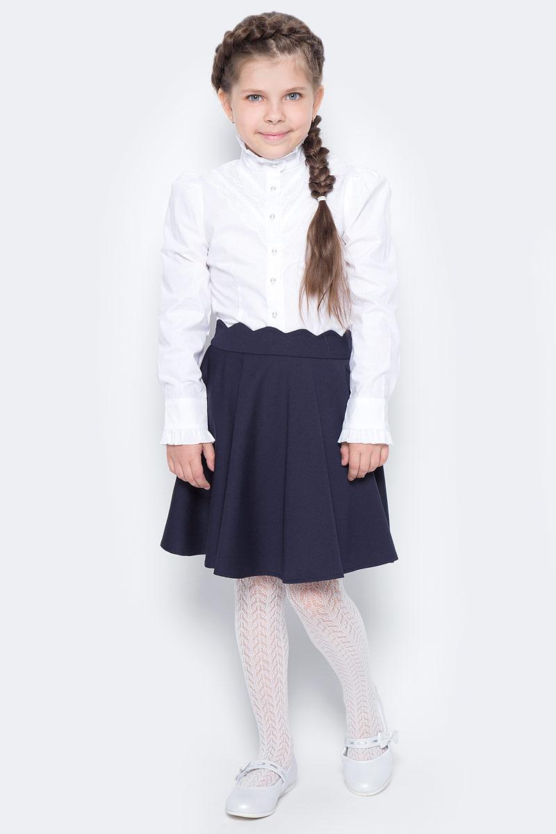 Блузка для девочки Overmoon by Acoola Debi, цвет: белый. 21200260004_200. Размер 152 футболка для девочки overmoon by acoola voronezh цвет синий белый 21210100001 8000 размер 152