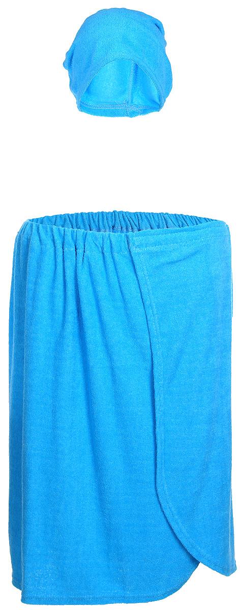 Комплект мужской для бани и сауны Главбаня, цвет: голубой, 2 предметаБ25_голубойКомплект мужской для бани и сауны Главбаня, цвет: голубой, 2 предмета