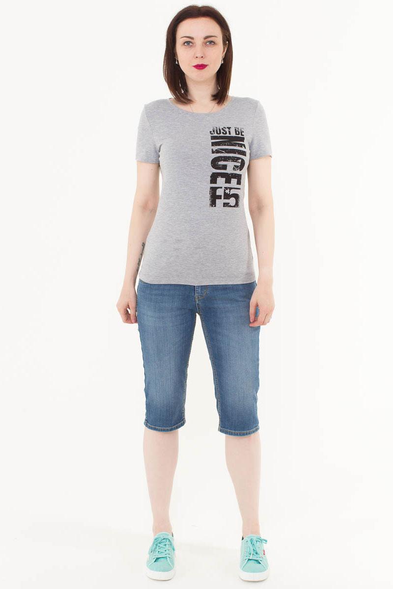 Футболка женская F5, цвет: светло-серый. 170069_12380. Размер XS (42)170069_12380/Nice, TR Porte, grey melangeЖенская футболка F5, изготовленная из качественного материала, поможет создать модный образ и станет отличным дополнением к повседневному гардеробу. Модель оформлена оригинальным принтом.