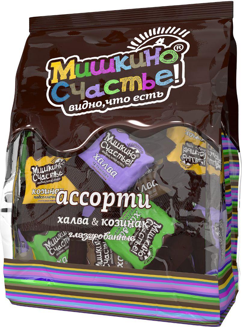 Мишкино счастье конфеты ассорти халва и козинак глазированные, 345 г