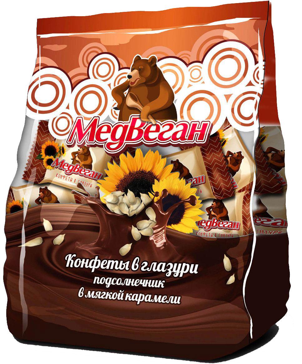 Медвеган конфеты глазированные подсолнечник в мягкой карамели, 345 гВСС345МВКонфеты с обжаренными семенами подсолнечника в мягкой карамели.