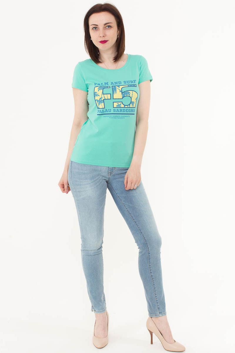 Футболка женская F5, цвет: ментоловый. 170073_12380. Размер S (44)170073_12380/Palau, TR Porte, mintЖенская футболка F5, изготовленная из качественного материала, поможет создать модный образ и станет отличным дополнением к повседневному гардеробу. Модель оформлена оригинальным принтом.