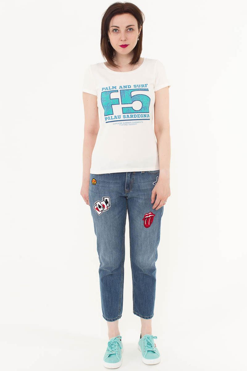 Футболка женская F5, цвет: слоновая кость. 170074_12380. Размер S (44)170074_12380/Palau, TR Porte, ecruЖенская футболка F5, изготовленная из качественного материала, поможет создать модный образ и станет отличным дополнением к повседневному гардеробу. Модель оформлена оригинальным принтом.