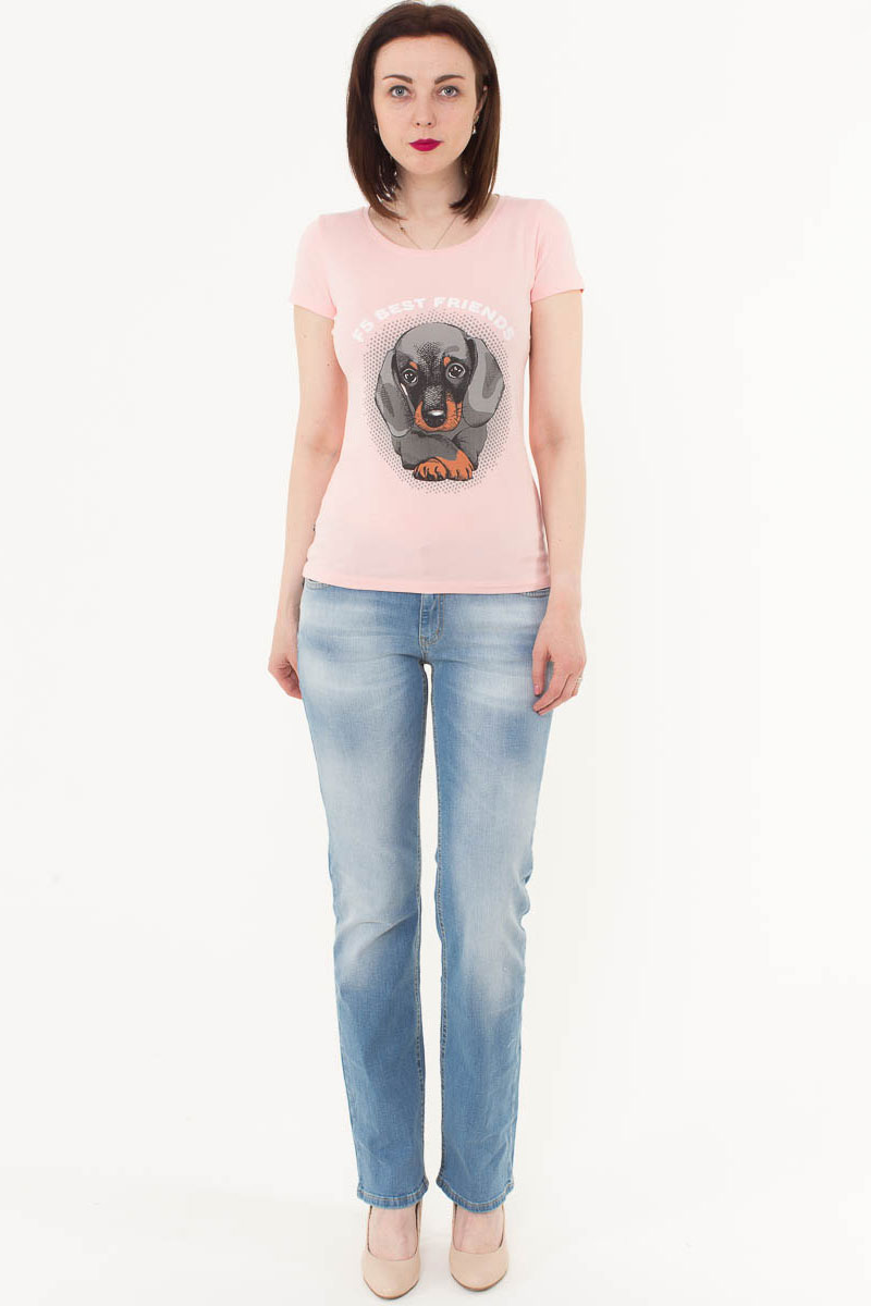 Футболка женская F5, цвет: светло-розовый. 170076_12380. Размер M (46)170076_12380/Best friends, TR Porte, light pinkЖенская футболка F5, изготовленная из качественного материала, поможет создать модный образ и станет отличным дополнением к повседневному гардеробу. Модель оформлена оригинальным принтом.